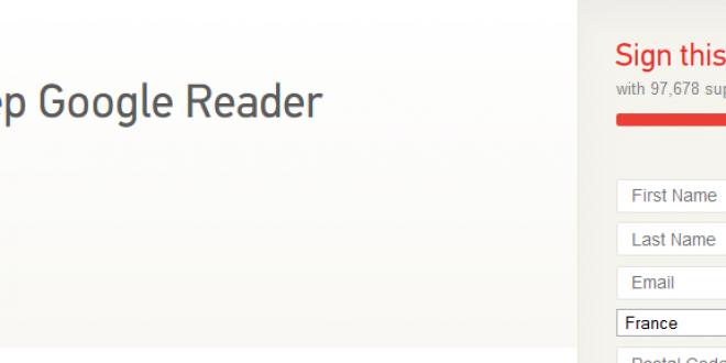 Une pétition pour sauver Google Reader a vu le jour