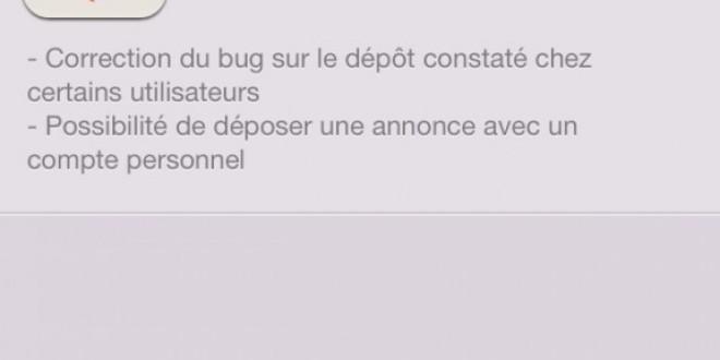 Leboncoin iOS affiche la version 1.72