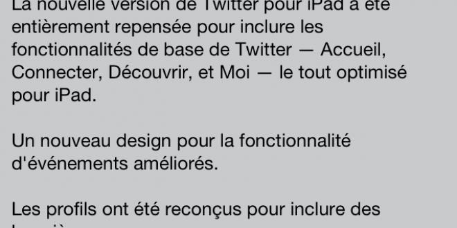 Twitter iOS se dote d'une importante mise à jour