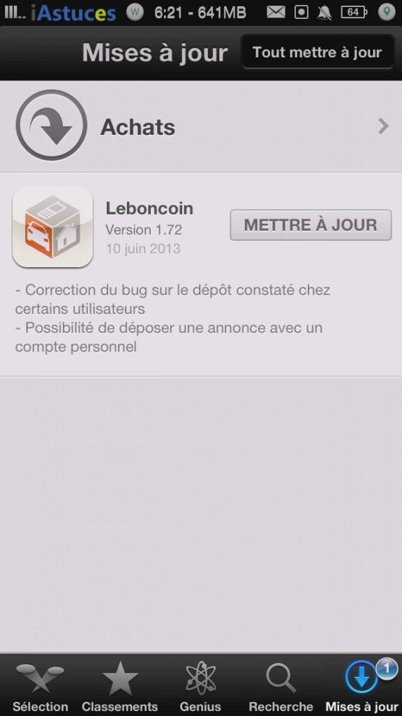 leboncoin ios affiche la version iphone astuces iphone 5 iphone 4s iphone 4. Black Bedroom Furniture Sets. Home Design Ideas